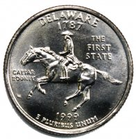 1999 Delaware State Quarter Coin - P or D Mint - BU