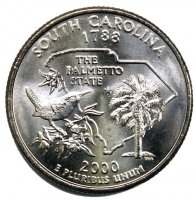 2000 South Carolina State Quarter Coin - P or D Mint - BU
