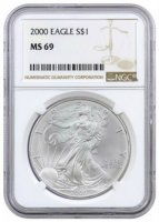 2000 1 oz American Silver Eagle Coin - NGC MS-69