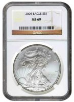 2006 1 oz American Silver Eagle Coin - NGC MS-69