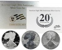 2006 3-Coin American Silver Eagle 20th Anniversary Set - (w/ Box & COA)