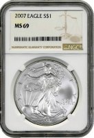 2007 1 oz American Silver Eagle Coin - NGC MS-69