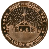 1 oz Copper Round - Christmas Series - Merry Christmas and Happy New Year Design