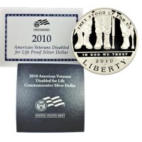 2010 American Veterans Disabled for Life Silver Dollar Coin (Proof)