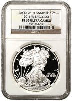 2011-W 1 oz American Proof Silver Eagle Coin - NGC PF-69 Ultra Cameo