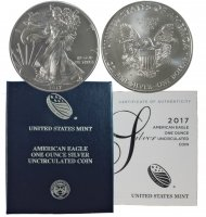 2017-W 1 oz American Burnished Silver Eagle Coin - Gem BU (w/ Box & C.O.A.)