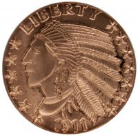 1 oz Copper Round - 1911 Incuse Indian Design