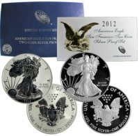 2012-S 2-Coin American Silver Eagle San Francisco 75th Anniversary Set - (w/ Box & COA)