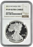 2013-W 1 oz American Proof Silver Eagle Coin - NGC PF-69 Ultra Cameo