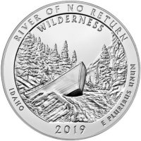2019 5 oz ATB River of No Return Wilderness Silver Coin - Gem BU (In Capsule)