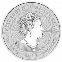 2019 2 oz Australian Silver Crocodile Coin - Next Generation Series - Gem BU