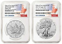 2019 Pride of Two Nations Silver Eagle and Canadian Maple Leaf - 2 Coin Set NGC PF-69 Early Release