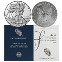 2019-W 1 oz American Burnished Silver Eagle Coin - Gem BU (w/ Box & C.O.A.)