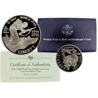 1991-95 World War II Commemorative Silver Set (Proof, 2 Coin)