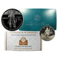 1992 Columbus Commemorative Silver Set (Proof, 2 Coin)