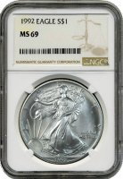 1992 1 oz American Silver Eagle Coin - NGC MS-69