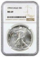 1994 1 oz American Silver Eagle Coin - NGC MS-69