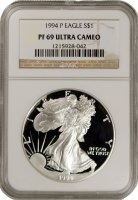 1994-P 1 oz American Proof Silver Eagle Coin - NGC PF-69 Ultra Cameo