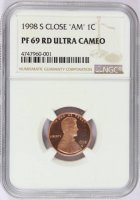 "1998-S Lincoln Memorial Cent Coin - NGC PF-69 RD Ultra Cameo - Close ""AM"""
