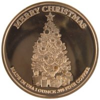 1 oz Copper Round - Christmas Series - Santa In Sleigh Design
