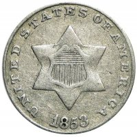 1851-1853 Three Cent Silver Piece Coin - Very Fine