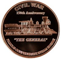 1 oz Copper Round - Civil War Series - The General Steam Engine Design