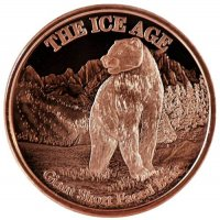 1 oz Copper Round - Ice Age Series - Giant Short Faced Bear Design