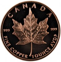 1 oz Copper Round - Canadian Maple Leaf Design