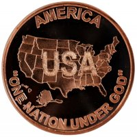 1 oz Copper Round - America One Nation Under God Design