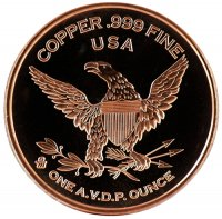 1 oz Copper Round - 1794 Flowing Hair Dollar Design