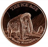 1 oz Copper Round - Ice Age Series - Woolly Mammoth Design