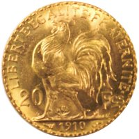 Early 1900's French 20 Francs Rooster Gold Coin - Brilliant Uncirculated