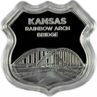 1 oz Silver - Icons of Route 66 Shield Series - Kansas Rainbow Arch Bridge