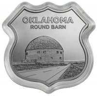 1 oz Silver - Icons of Route 66 Shield Series - Oklahoma Round Barn