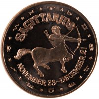 1 oz Sagittarius Copper Round from the Zodiac Series