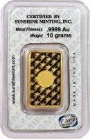 Sunshine Minting 10 gram Gold Bar - New Design (In TEP Packaging w/ Mint Mark SI™)
