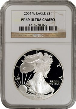 2004-W 1 oz American Proof Silver Eagle Coin - NGC PF-69 Ultra Cameo