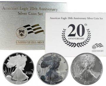 2006 3-Coin American Silver Eagle 20th Anniversary Set - (w/ Box & COA)