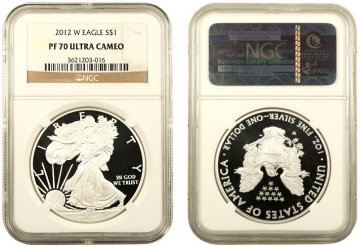 2012-W 1 oz American Proof Silver Eagle Coin - NGC PF-70 Ultra Cameo