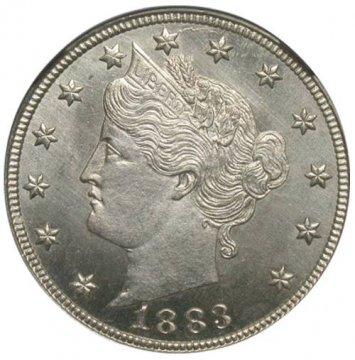 1883 Liberty Head V Nickel Coin - No Cents - Choice BU