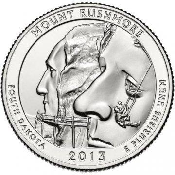 2013 Mount Rushmore Quarter Coin - S Mint - BU