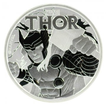 2018 1 oz Tuvalu Silver Marvel Series - Thor Coin - Gem BU