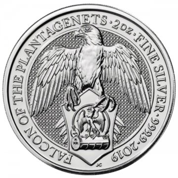 2019 2 oz Great Britain Silver Queen's Beasts Coin - The Falcon - Gem BU