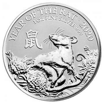 2020 1 oz Great Britain Silver Year of the Rat Coin - Gem BU