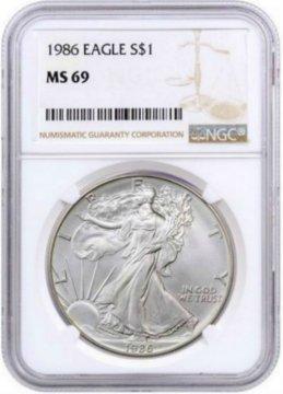 1986 1 oz American Silver Eagle Coin - NGC MS-69