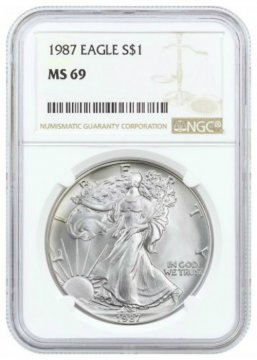 1987 1 oz American Silver Eagle Coin - NGC MS-69