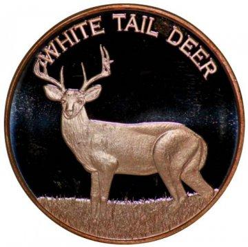 1 oz Copper Round - White Tail Deer Design
