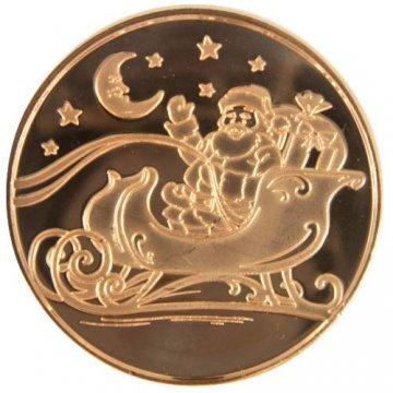 1 oz Copper Round - Christmas Series - Santa In Sleigh Design