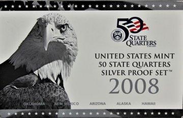 2008 U.S. State Quarter Silver Proof Coin Set