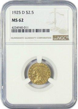 $2.50 Indian Quarter Eagle Gold Coins - Random Dates - PCGS/NGC MS-62